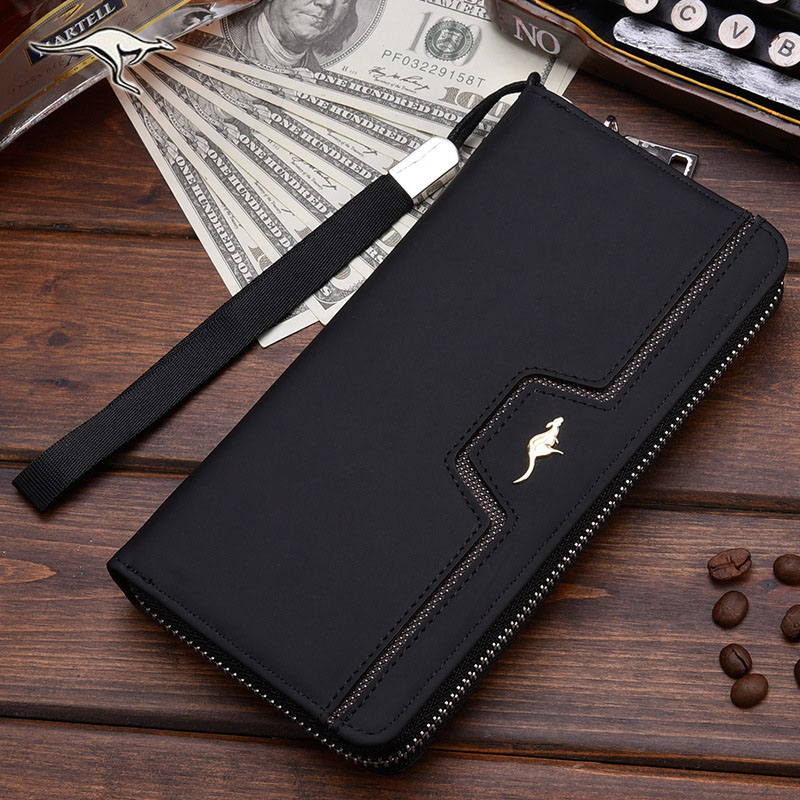 Designer Men Wallets Famous Brand Kangaroo Men Long Wallet Clutch Male Wrist Strap Wallet Big Capacity