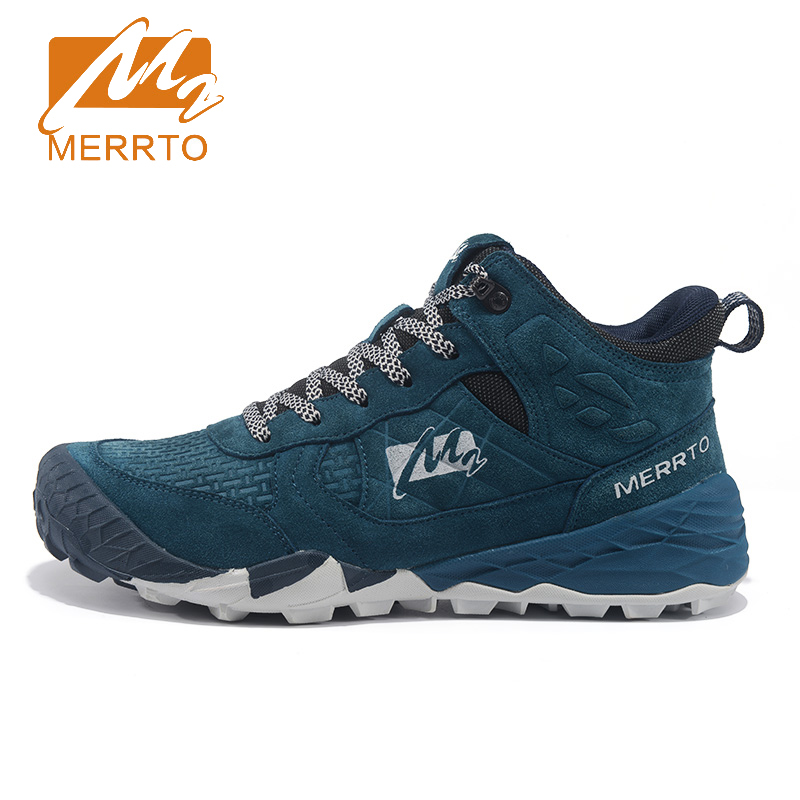 ФОТО 2017 Merrto Mens Walking Shoes Outdoor High Cut Shoes Non-slip Breathable Khaki Grey Brown Blue Free Shipping MT18635