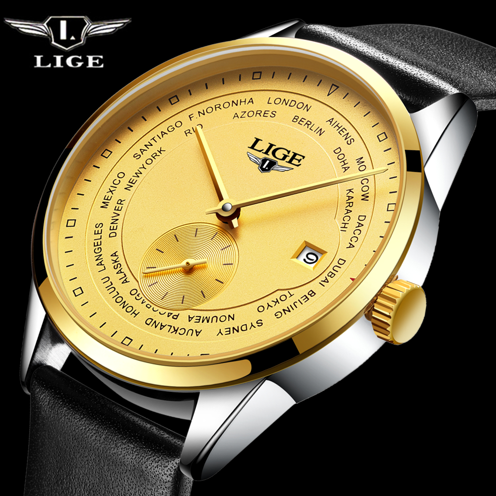 LIGE Men's Classic Diving Series Mechanical Watches Waterproof Leather strap Brand Luxury Fashion Watch Men Relogio Masculino