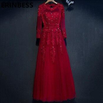 Vestido De Festa Real Photos Red Evening Dresses Beaded Lace Appliques Long Sleeve Women Formal Party Gowns Robe De Soiree