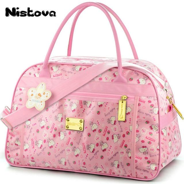 598cd9c0f227 Cute Hello Kitty Cat Travel Bags Luggage Women Girls s Cartoon Tote Duffle Big  Capacity Handbag Waterproof