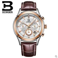 2017 Mens Watches Top Brand Luxury Binger Leather Men Sports Round Wristwatch Man Chronograph Quartz Watch