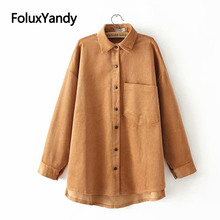 Corduroy Casual Shirts for Women Loose Plus Size Blouses New Spring Long Sleeve Blouse Shirt KKFY3198