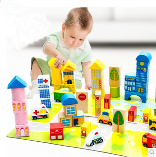 2017 Hot Sale Children's Blocks Toys Wooden Building Blocks City Traffic Scene Blocks Educational Toys Baby Toy HT2571 купить