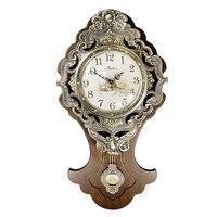 70x37 см очень большие европейские ретро настенные часы из твердой древесины бесшумные односторонние настенные часы; кварцевые часы
