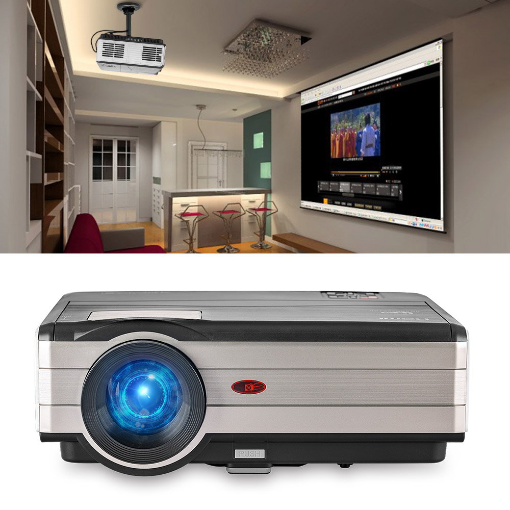 CAIWEI Smart LED LCD Portable Home Theater HD Video Projector HDMI VGA (Optional Wireless Sync Display For Smartphone Ipad)