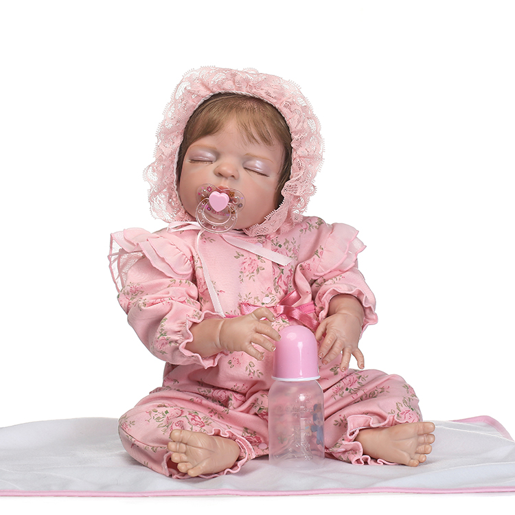 Realistic 55cm Full Body Silicone Reborn Baby Girl Sleeping Doll 22' Soft Vinyl Newborn Babies Eyes Closed Waterproof Bathe Toy