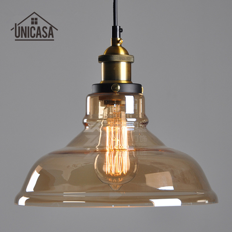 Modern LED Pendant Lights Vintage Lighting Fixtures Kitchen Island Amber Glass Pendant Lights Industrial Pendant Ceiling Lamp glass shade modern pendant lights vintage industrial kitchen island lighting office hotel shop antique led pendant ceiling lamp
