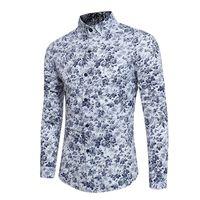 2018 Adam ÇIÇEK erkekler Gömlek elbise Uzun Kollu Gömlek Sonbahar Ve Kış Render Erkek Beyaz camisa masculina fransız manşet gömlek