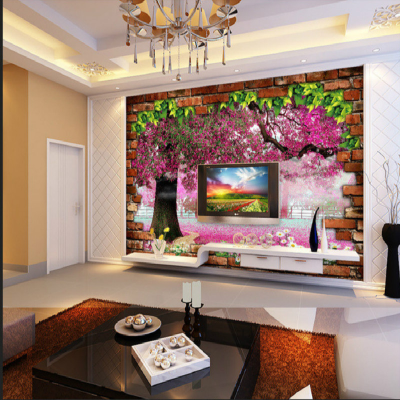 Purple flowers large mural 3D wallpaper TV backdrop living room bedroom wall painting three-dimensional 3D wallpaper