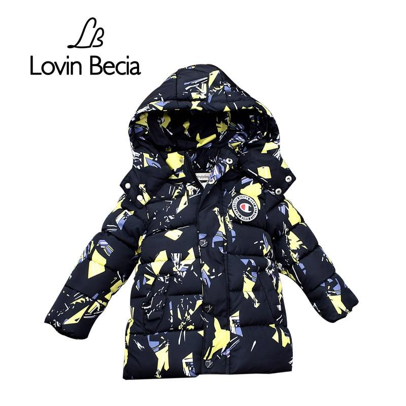 Lovinbecia высокого качества для маленьких мальчиков зимняя куртка пальто для маленьких девочек Модная хлопковая куртка с капюшоном детская те...