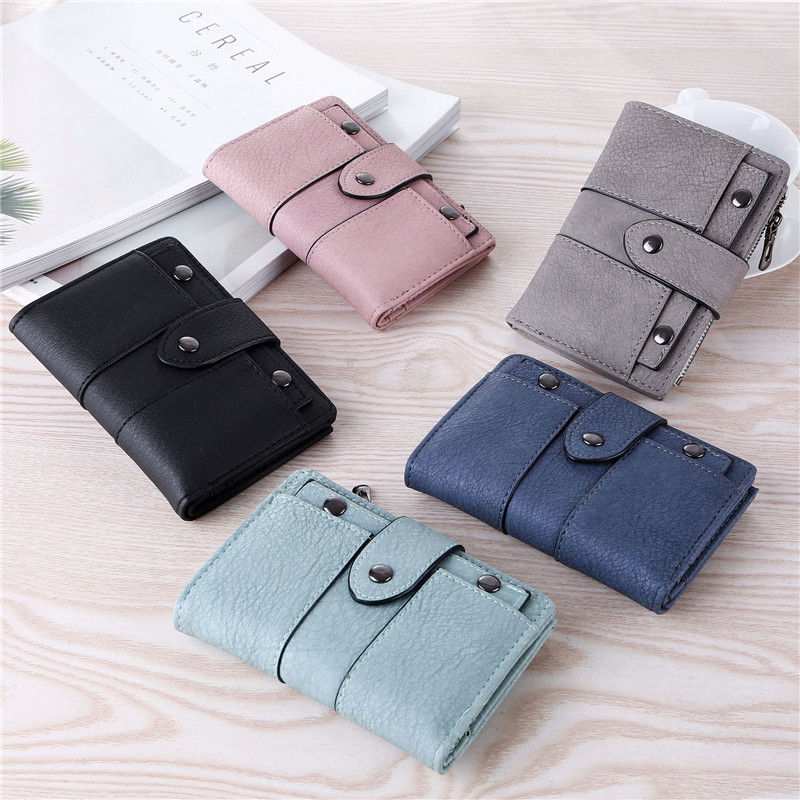 2018 New Vintage Leather Women Wallet Female Coin Purses Small Pocket Wallet Short Rivet Hasp Zipper Handy Purses Clutch Bags