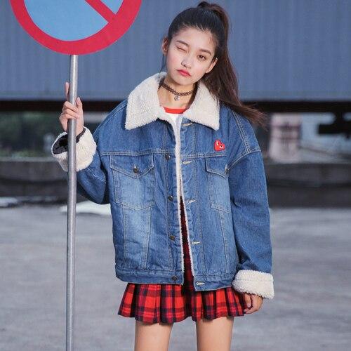 9f4ea8e82a312 Jeans Jacket Women 2017 Winter Japanese Style Lolita Heart Embroidery  Pocket Long Sleeve Blue Denim Jacket Coats Think Warm C73