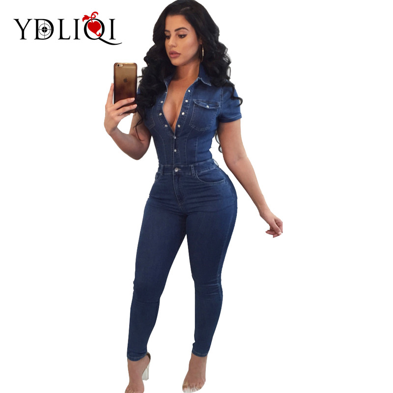 Ydliqi 2018 Summer Jeans Jumpsuits Women Big Size Denim Rompers