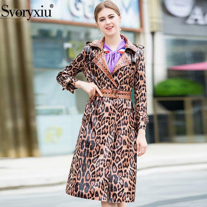 Svoryxiu 2018 Designer Autumn Winter Faux leather Overcoat Outwear Women's Vintage Leopard Printed Slim Long Coat Windbreaker