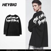 Koreanische Hot Dark straße Zurück Schrift Druck T, drop-schulter breiten losen t-shirt, Hip hop männer trendy kleidung, geben ein mann einer maske T