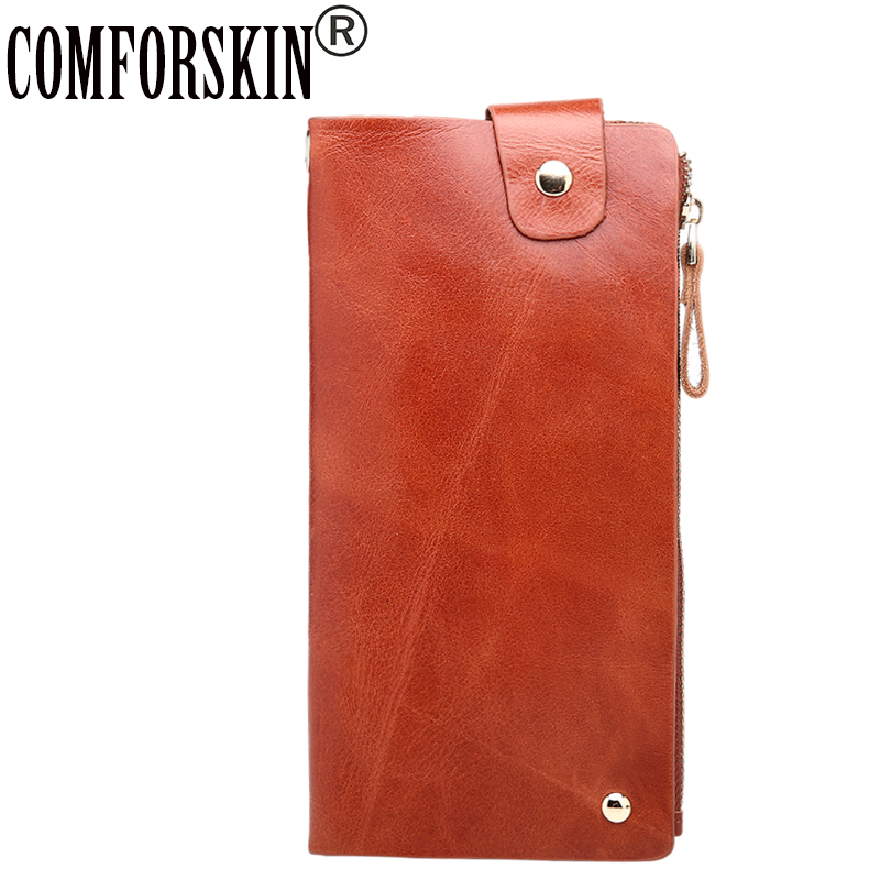 COMFORSKIN Long Genuine Leather Multi-Card Bit Men Wallets Large Capacity Men Clutch Wallet High Quality Carteira Masculina
