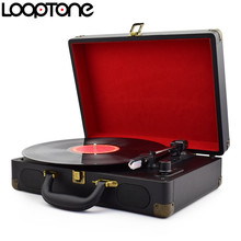 LoopTone Vintage 33/45/78 RPM Portable Suitcase Turntable Vinyl LP Record Player Phono Players Aux-in Line-out AC110~240V Black