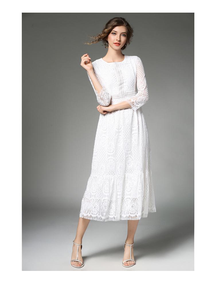 Elegant Women Long White Lace Dress Vetement Femme 2017 Robe Longue Ladies Summer Maxi Dress Dames Jurken K942578 7