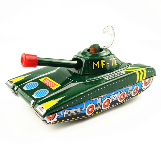 1PCS Classical Clockwork Toy Inertial Tank Children Vintage Tin Toys Friction Tank Modern Clockwork Toy Gift