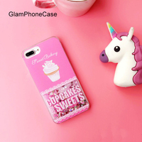 Pink Ice Cream Case For IPhone 7 7plus Dynamic Liquid Glitter Quicksand Star Soft Tpu Phone