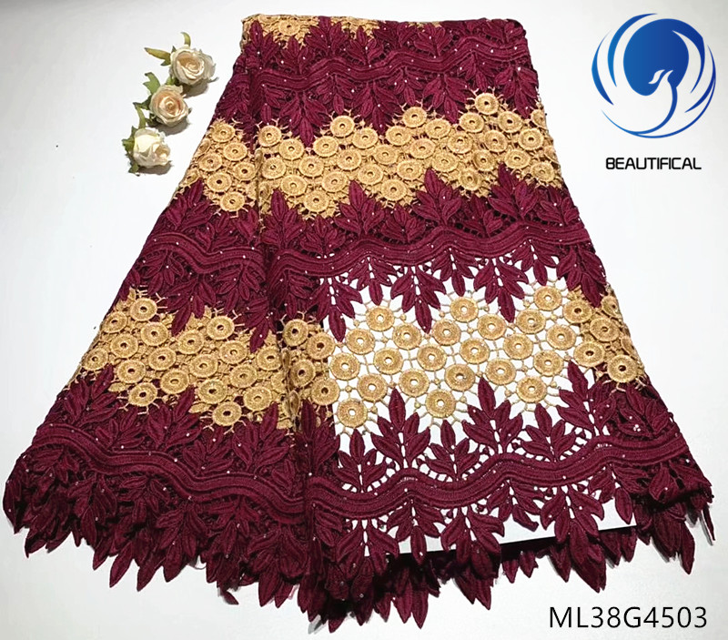 BEAUTIFICAL lace guipure fabric african 2019 5 yards cord lace nigerian ML38G45BEAUTIFICAL lace guipure fabric african 2019 5 yards cord lace nigerian ML38G45