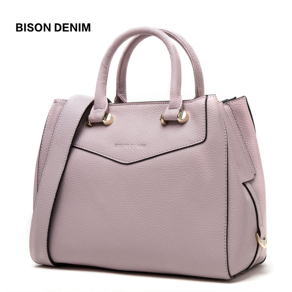 BISON DENIM Luxury Handbags Women Bags Designer Genuine Leather Female Shoulder Bags Large Cowhide Tote Bags