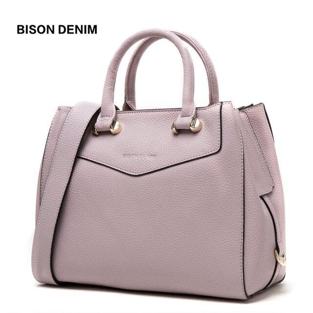 BISON DENIM Bolsas De Luxo Mulheres Sacos Designer de Couro Genuíno bolsa de Ombro Fêmea Sacos Grandes Do Couro Sacolas para As Mulheres N1362