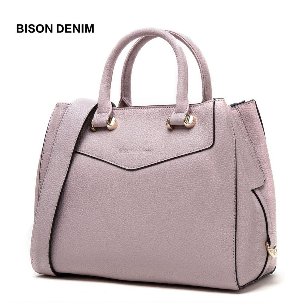 BISON DENIM Luxury Handbags Women Bags Designer Genuine Leather Female Shoulder Bags Large Cowhide Tote Bags for Women B1362