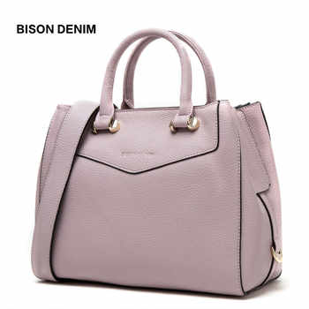 BISON DENIM Luxury Handbags Women Bags Designer Genuine Leather Female Shoulder Bags Large Cowhide Tote Bags for Women B1362 - DISCOUNT ITEM  60% OFF All Category