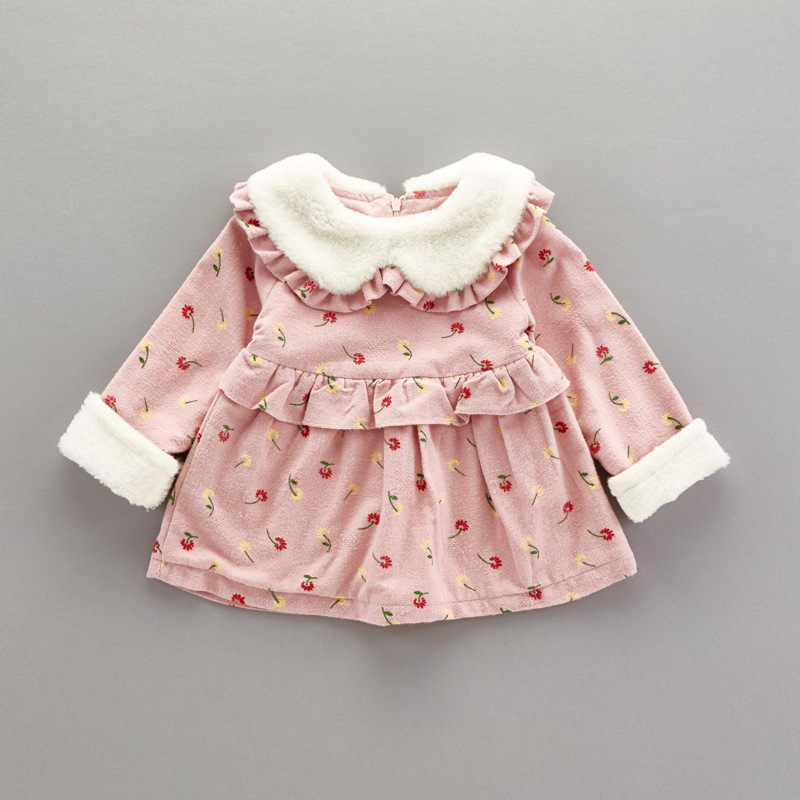Baby girl print dresses kids winter dresses baby dress Shear plush kids frocks girl casual dress