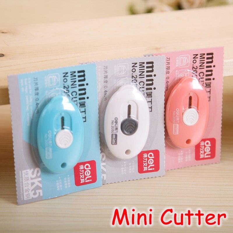 [Deli] Großhandel (18 Stücke/Los) candy Farbe Mini Cutter Tragbare Papier Utility Messer Mit Keychain Loch No.2050
