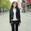 Slim new winter leather short coat female cashmere Nagymaros collar machine wagon jacket detachable fur collar