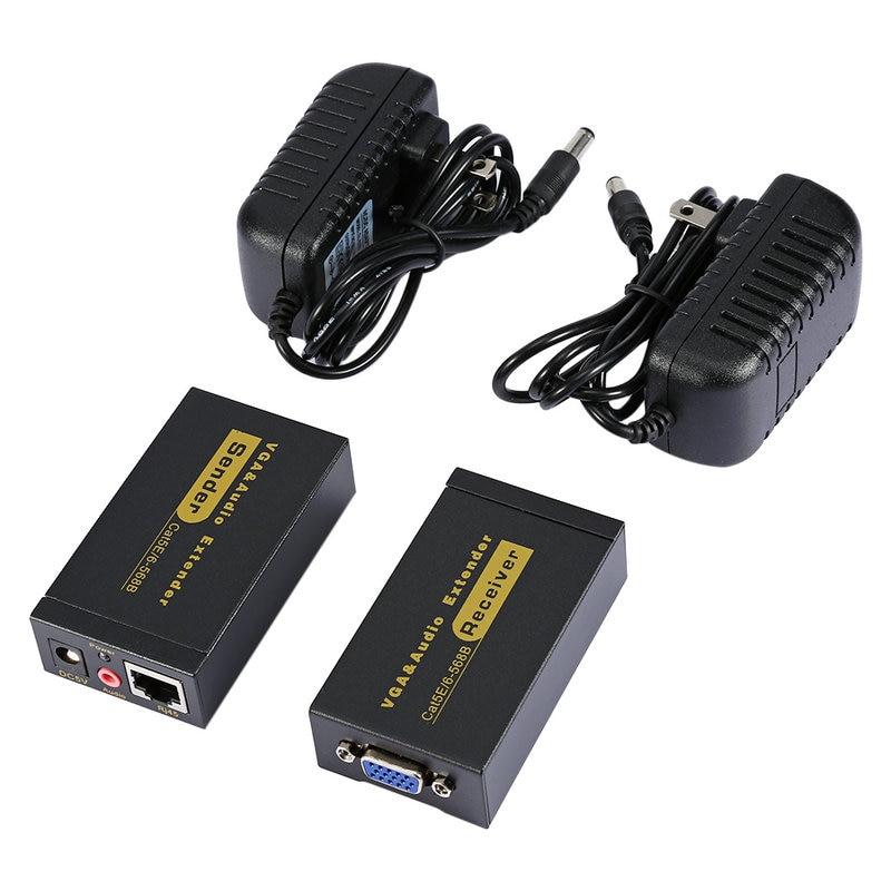 HD VGA Extender To Lan CAT5e/6 RJ45 Ethernet Adapter Female To Female VGA Video And Stereo Audio Extender Extension Converter