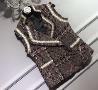 High end элегантный шерстяной жилет женщин, удивительные твидовый пиджак, модная зимняя одежда VESTE Femme, уникальный chalecos Mujer большие размеры 5XL 6XL