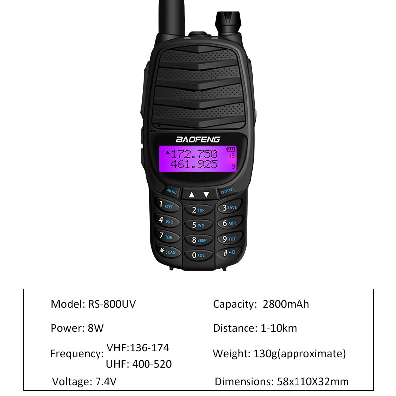 Image 2 - 2019 new walkie talkie baofeng RS UV800 two way radio 8w Dual Band UHF&VHF Portable radio UV 82 PLUS Transceiver Ham Radio gift-in Walkie Talkie from Cellphones & Telecommunications