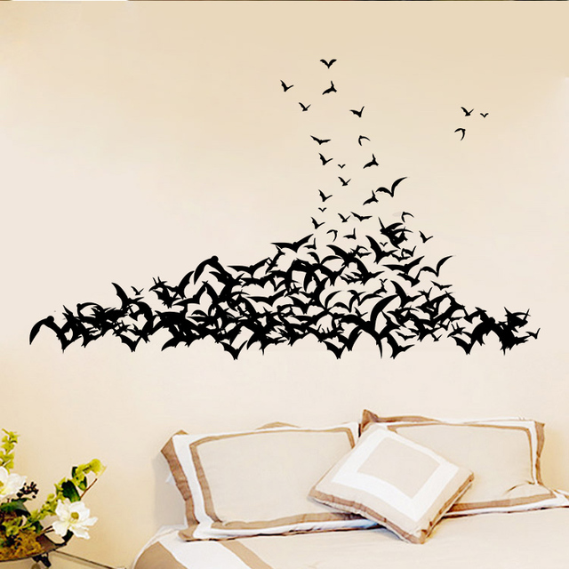 Bat Living Room Wall Panel Design Aw9560 Black 3d Diy Pvc Stickers Home Decor Halloween Vinyl Walls Decals Vintage Poster