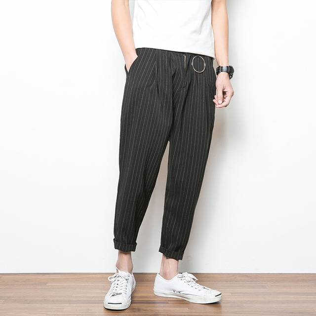 Spring Summer New Men Casual Pant High Street Fashion Iron Ring Loose Harem Pant Male Stripe Trousers Plus Size M-5XL