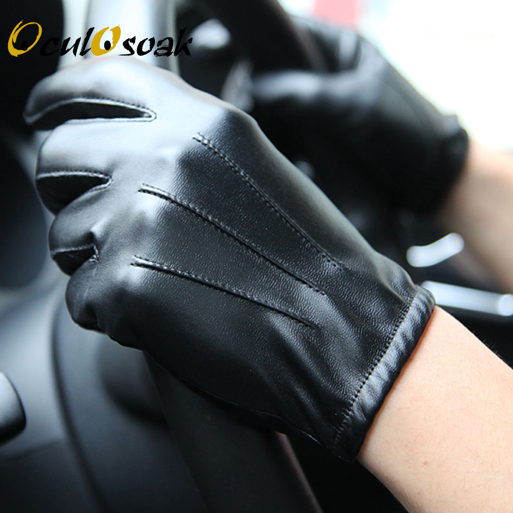 Hot Men 39 s Luxurious PU Leather Winter Driving Warm Gloves Cashmere Tactical gloves Black Drop Shipping High Quality in Men 39 s Gloves from Apparel Accessories