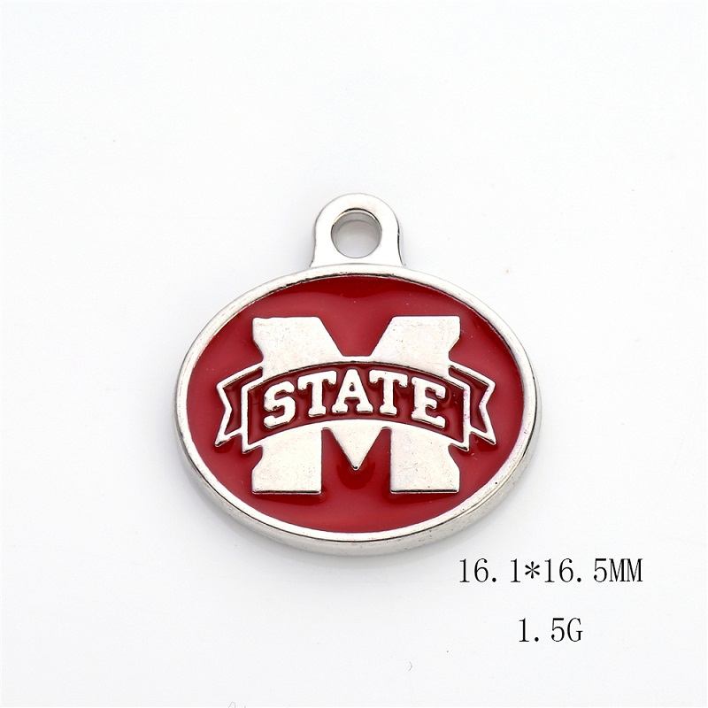 New Arrival Double Sides Enamel Mississippi State College Logo Pendant Charm For All DIY Sport Jewelry