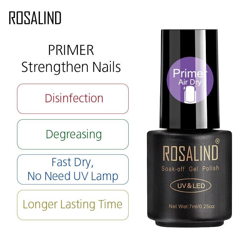 Лак для ногтей ROSALIND, 7 мл, Быстросохнущий праймер для ногтей, отмачиваемый Полупостоянный лак для маникюра, акриловый УФ-лак для красоты