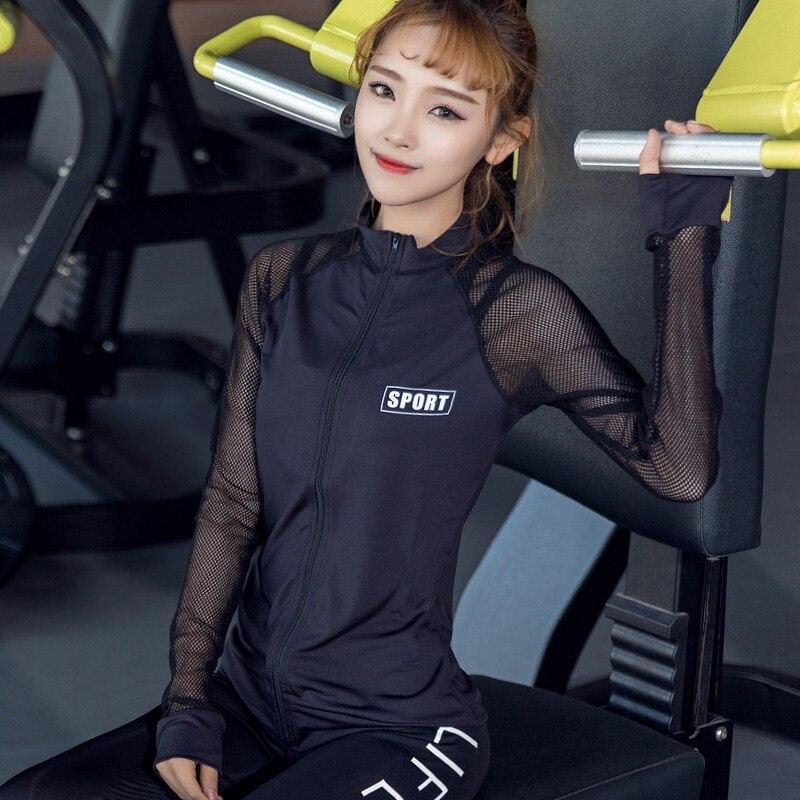 Automne Hiver de Femmes de Course Veste À Manches Longues Sport Top Shirt Mesh Respirant Vêtements De Fitness Yoga HAUT Manteau Sport Maillots