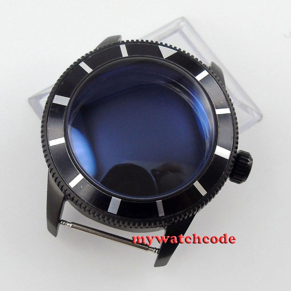 46mm Black Alloy Bezel PVD Watch Case Fit ETA 2824 2836 MOVEMENT C93
