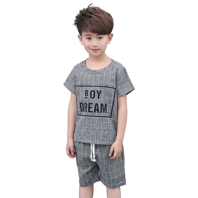 2017 New Boy's Summer Children Suit Cotton Solid Set O-Neck Kids Fashion Short Sleeved Two Piece Suits Children's Sets Clothing