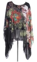 S 4XL 5XL 6XL Plus Size Women Dress Batwing Sleeve Shawl Casual Chiffon Dress Vestidos Femininos