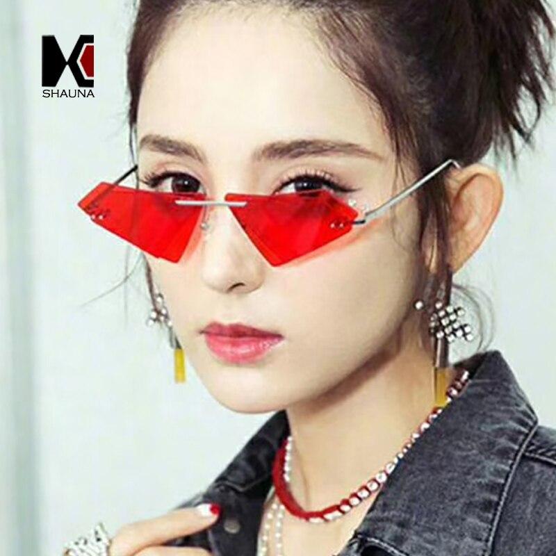 SHAUNA Unique Sans Monture Femmes Diamant Pointu lunettes de Soleil Mode Double Lentille Cat Eye Hommes Rouge Teinté/Clair Objectif Shades UV400