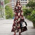 2016 Осень Зима Новый Женщины Платье Мусульманских Женщин Длинное Платье Vestidos Повседневная Печати Цветочные Длинным Рукавом V-образным Вырезом Партия Одежды