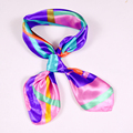 Hot Sale Striped Women Small Silk Scarf Printed Fashion Female Pink Purple Polyester Scarves New Professional Small Square Scarf
