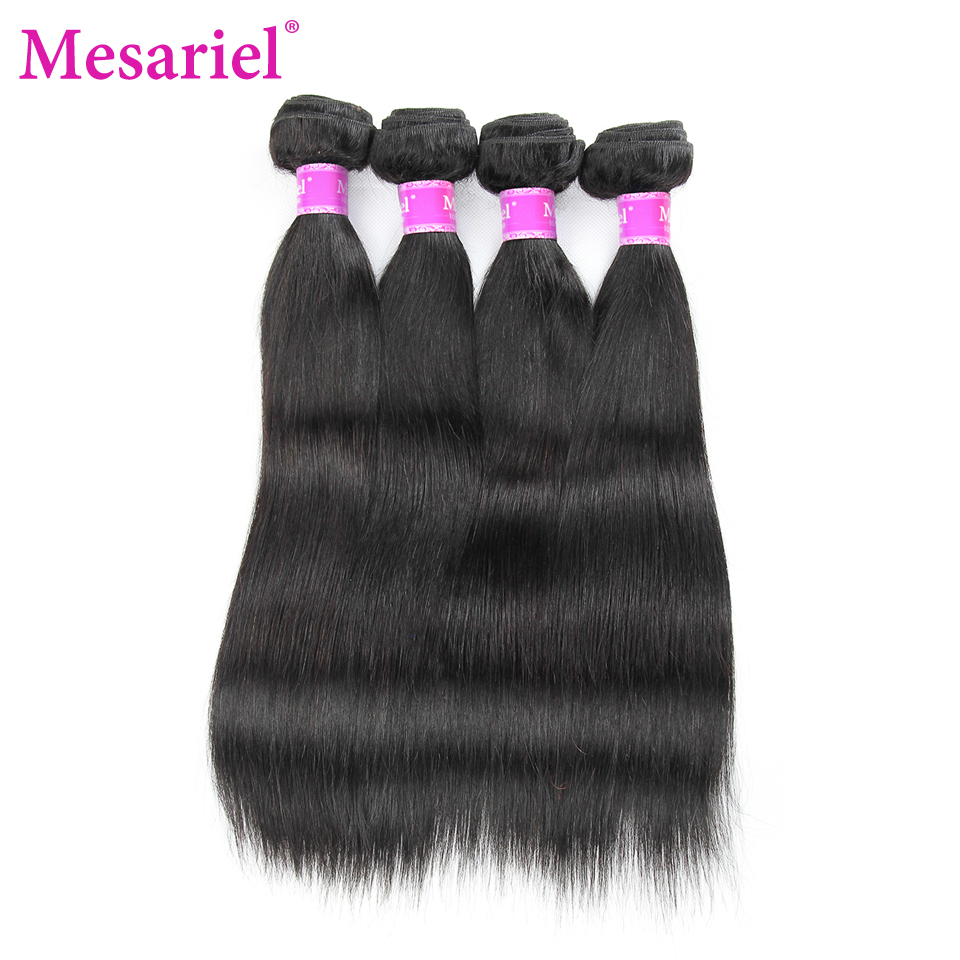 Mesariel Non-Remy Human Hair Weave Weft 4 Bundles Straight Hair Extension 8-30 inch 4 Bundle Deals Brazilian Hair Weave Bundles