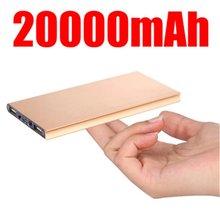 Cargador de batería externo Portable 20000 mah Banco de Alimentación de emergencia cargador de batería Dual USB Powerbank energía de Reserva